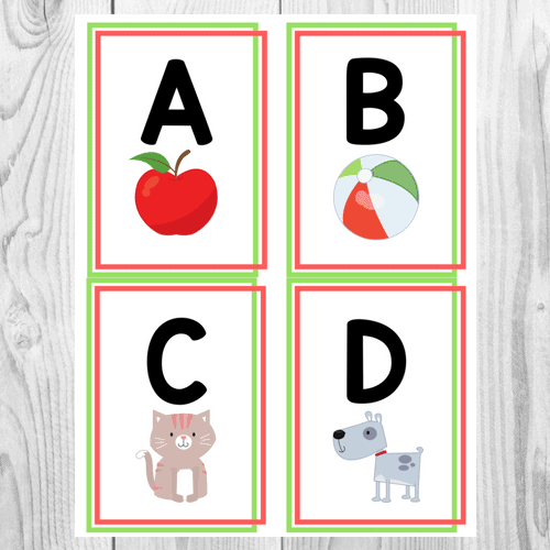 Alphabet Flashcards Green and Red Frame