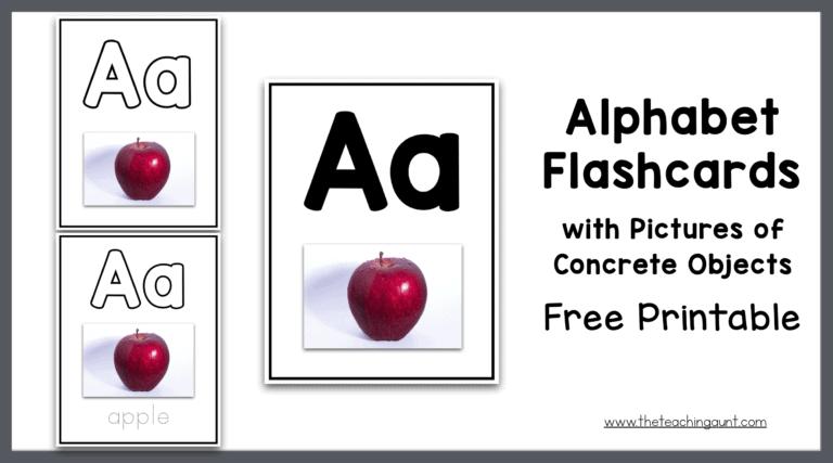 Alphabet Flashcards with Concrete Objects Freebie