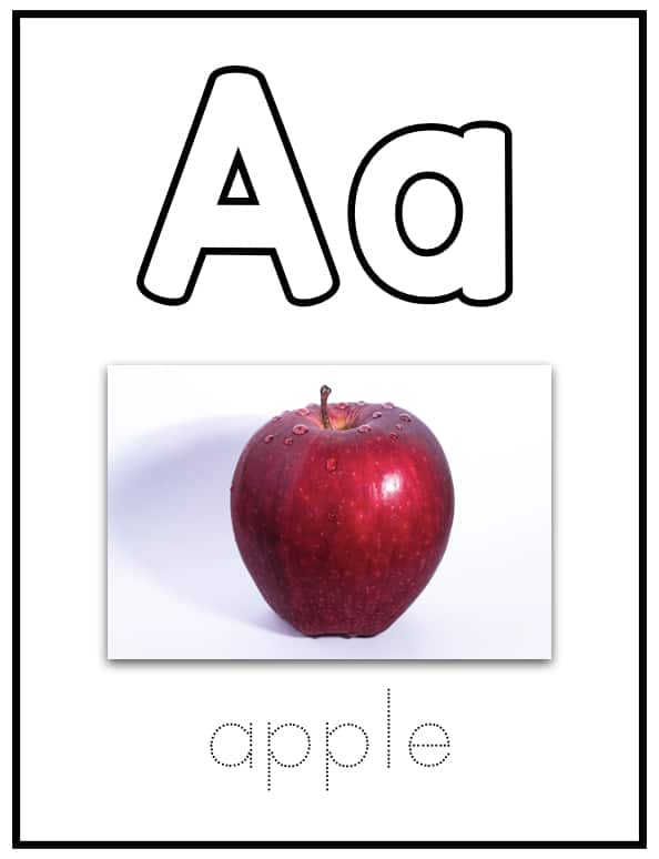 Alphabet Flashcards with Concrete Photos with Tracing Free Printable
