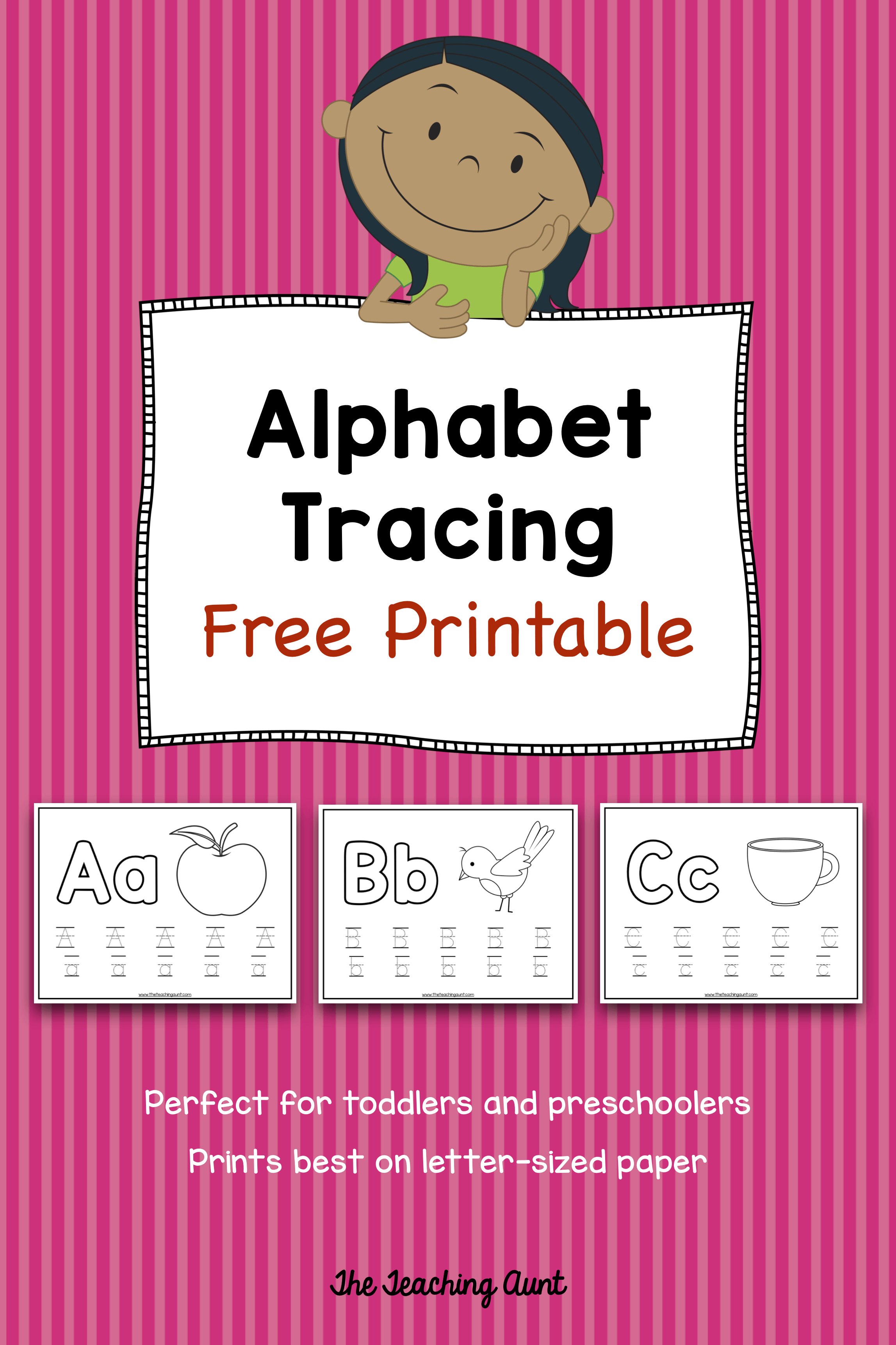 Alphabet Tracing Free Printable - The Teaching Aunt