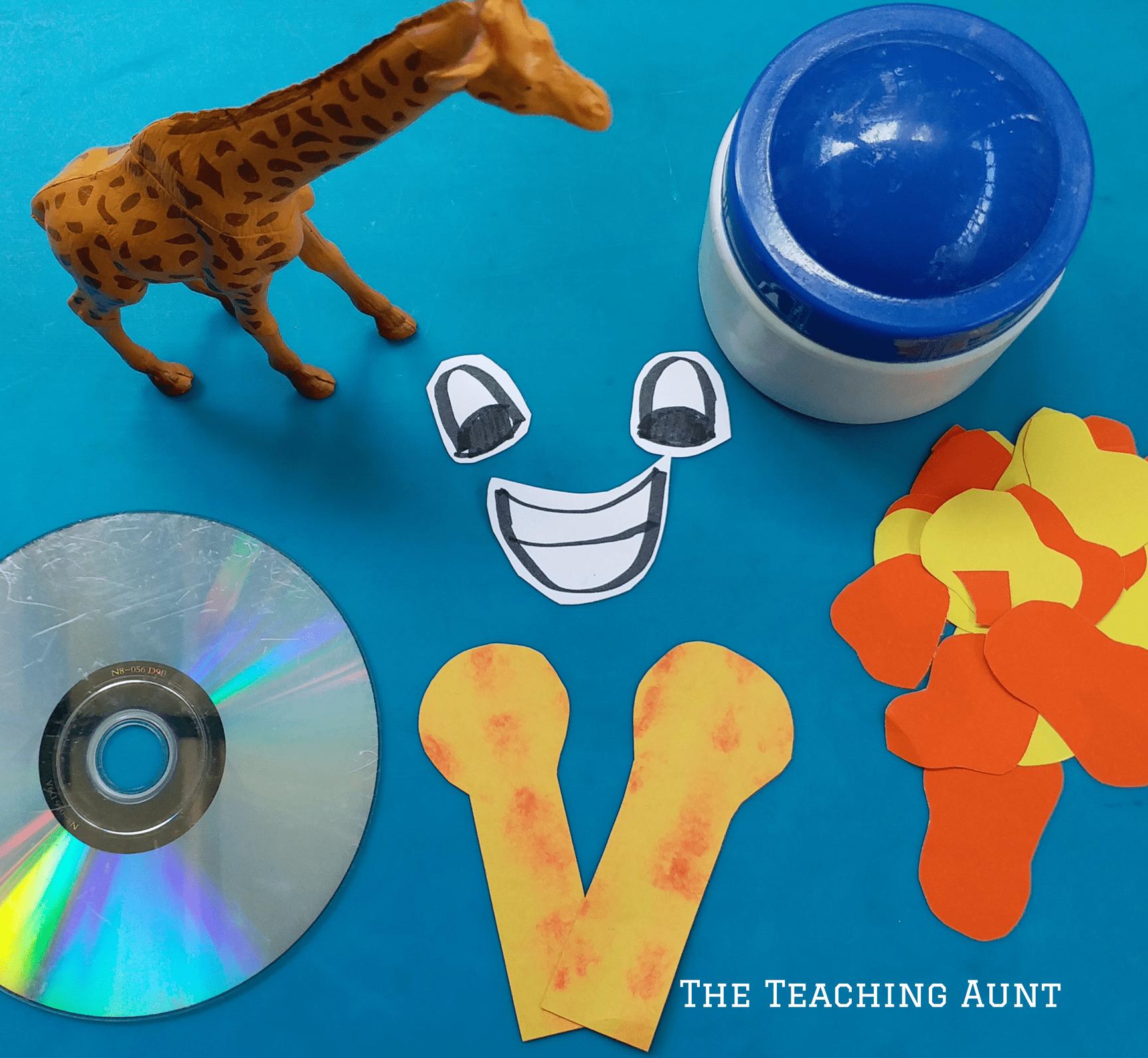 Materials for CD Giraffe Art and Craft