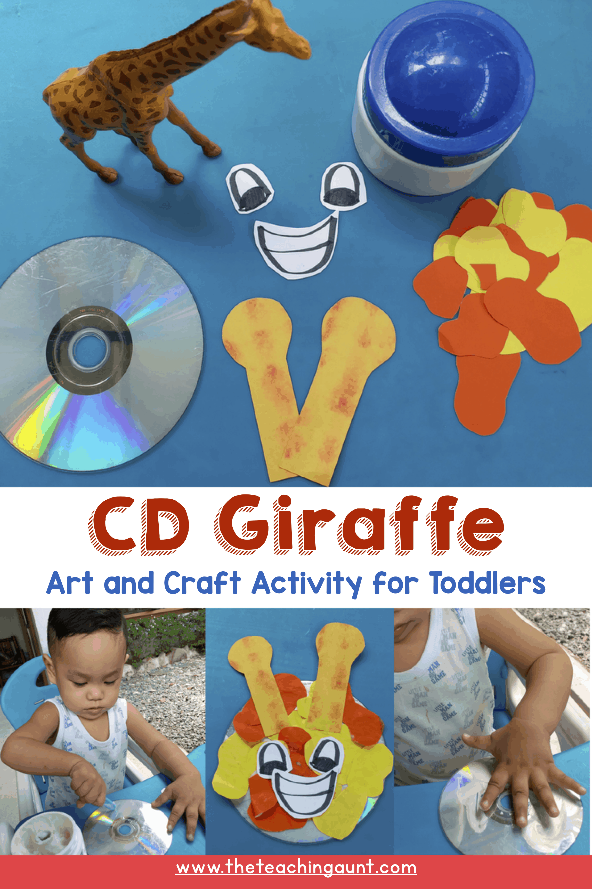 CD Giraffe Art and Craft for Toddlers