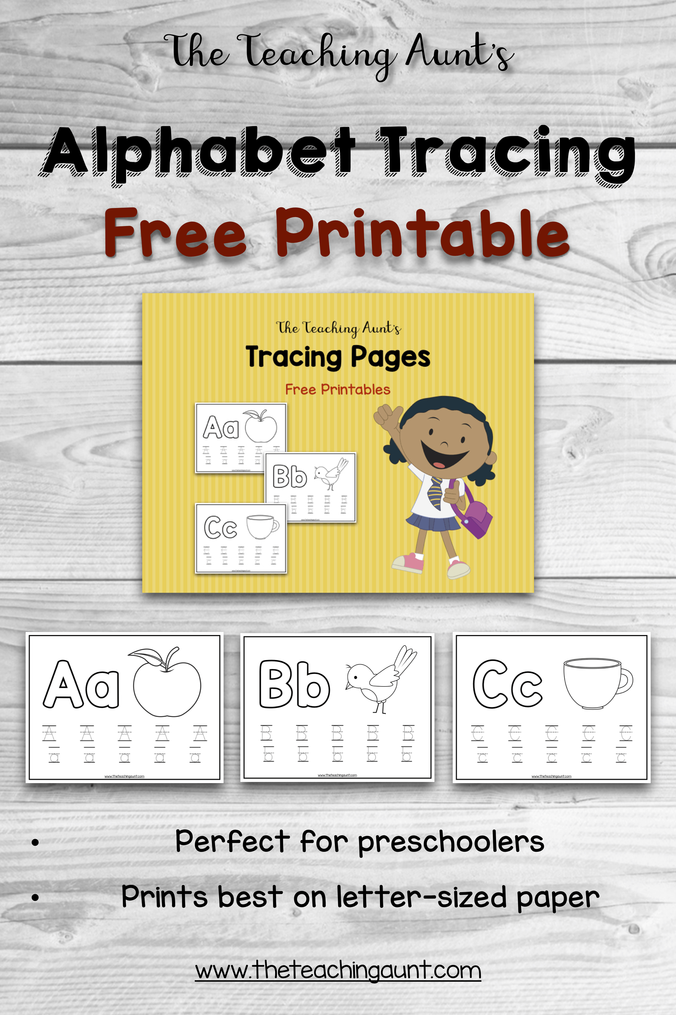 Alphabet Tracing Page The Teaching Aunt Free Printable