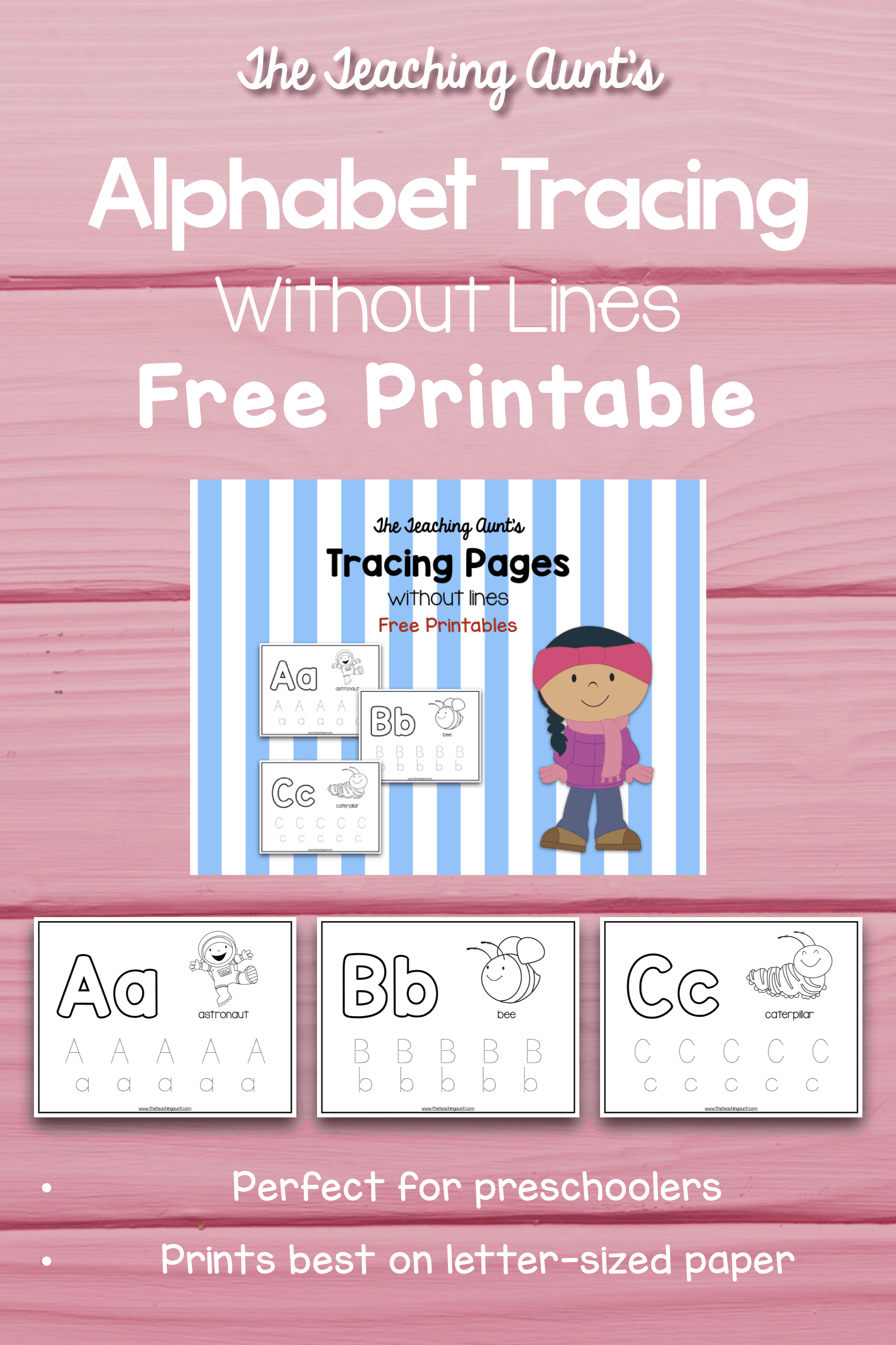 Alphabet Tracing Without Lines Free Printable - The Teaching Aunt