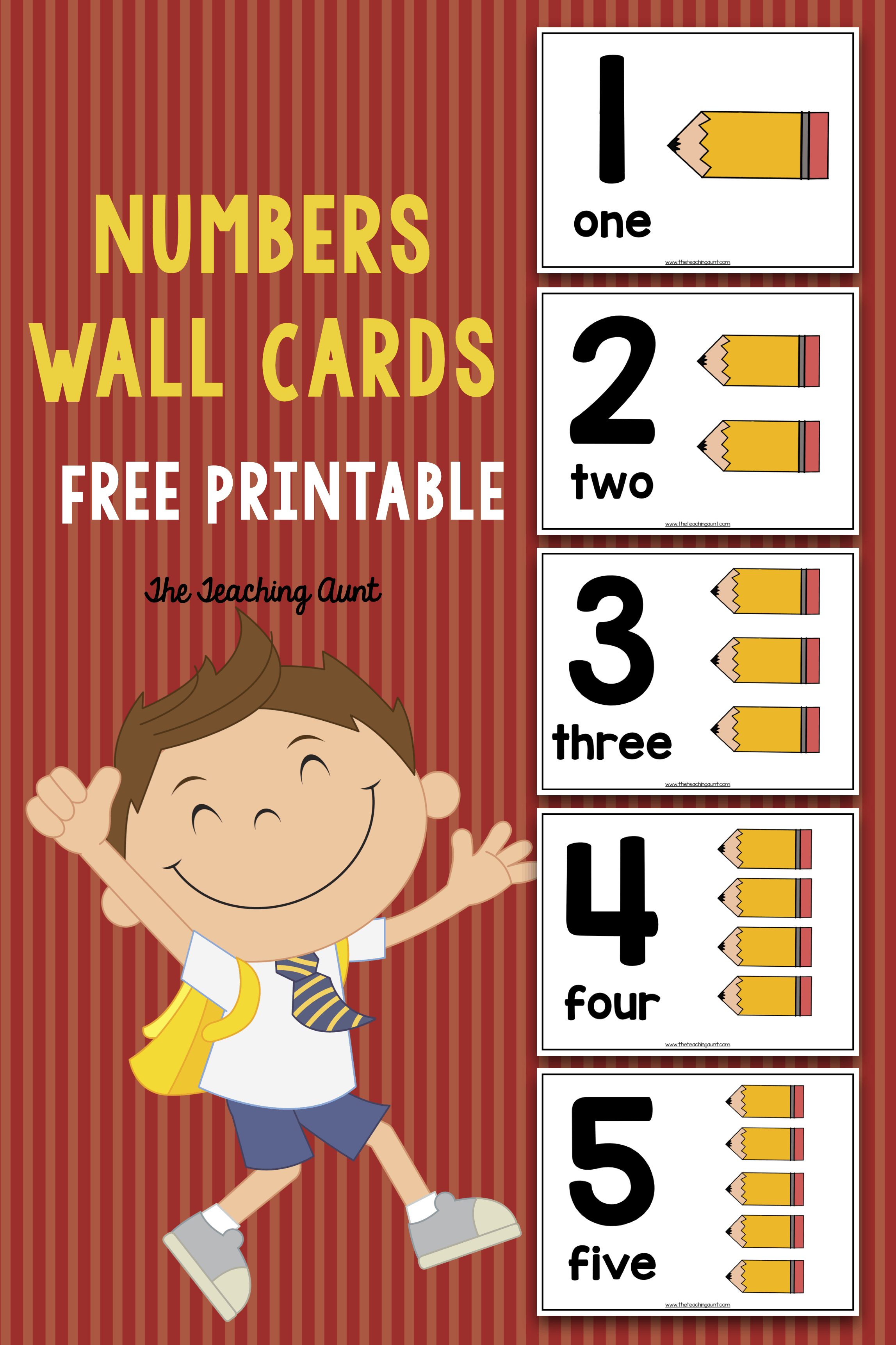photo regarding Printable Number Cards named Quantity Wall Playing cards for Preschoolers - The Instruction Aunt