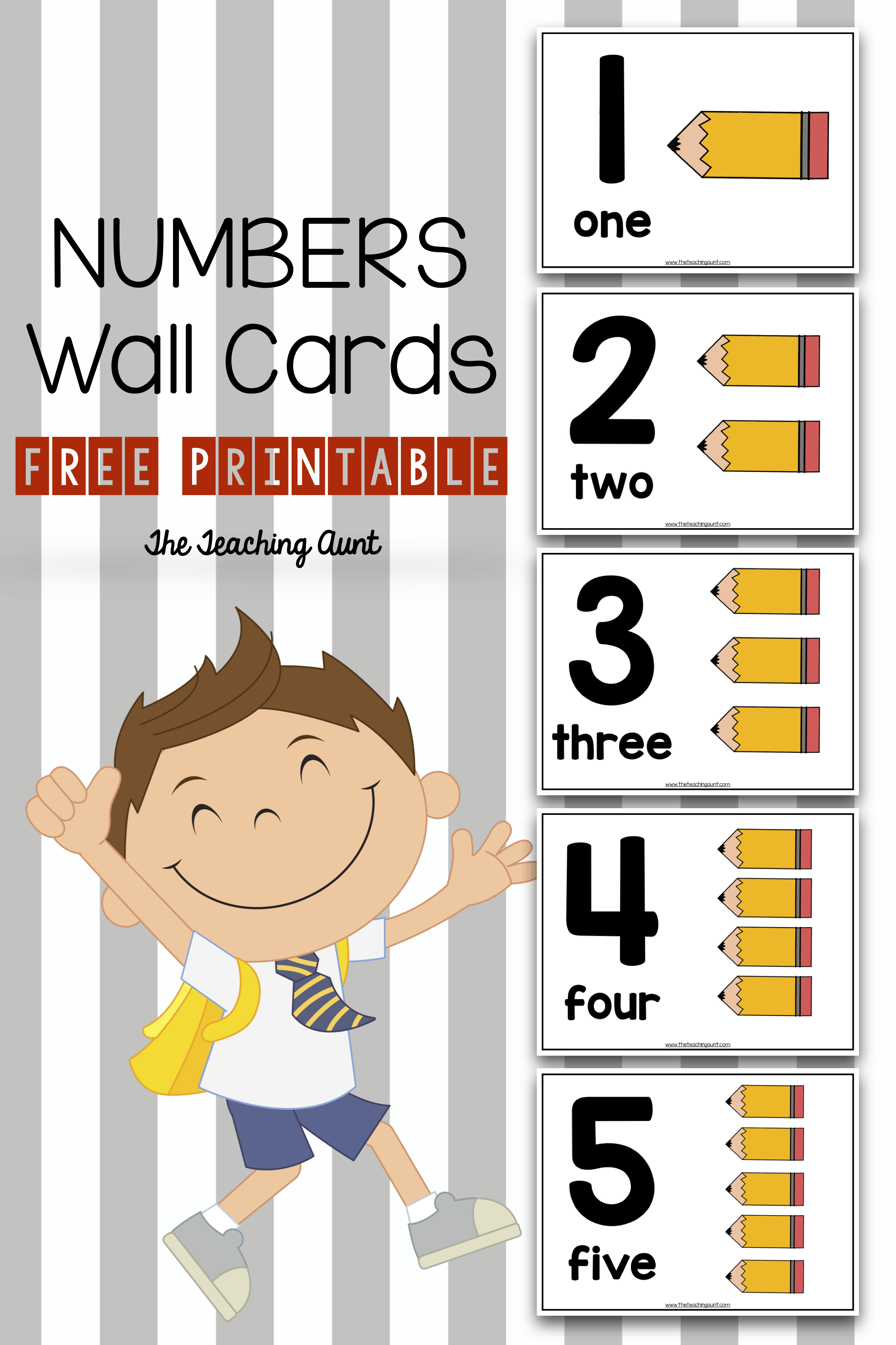 Numbers 1-10 Wall Cards Free Printable- The Teaching Aunt