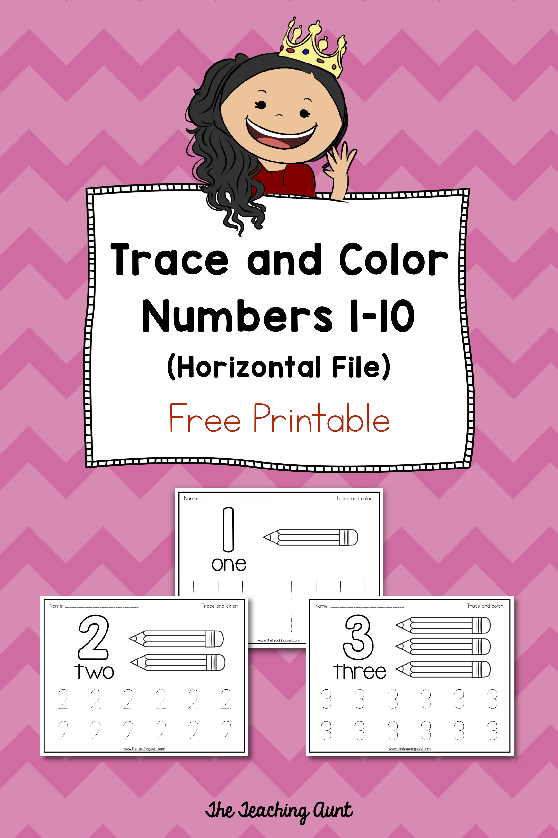 Trace and Color Number Pages Free Printable