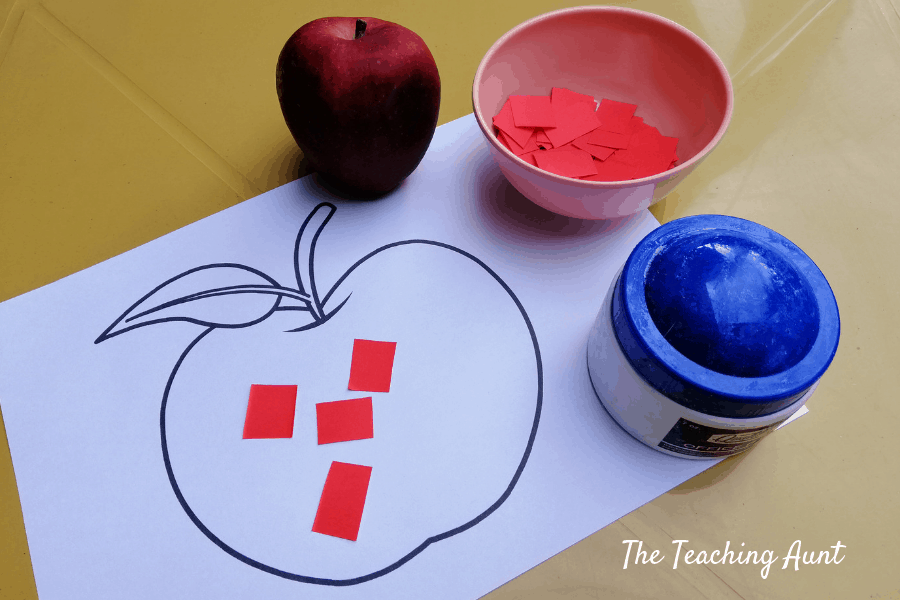 A is for Apple Paper Pasting Activity with Free Printable