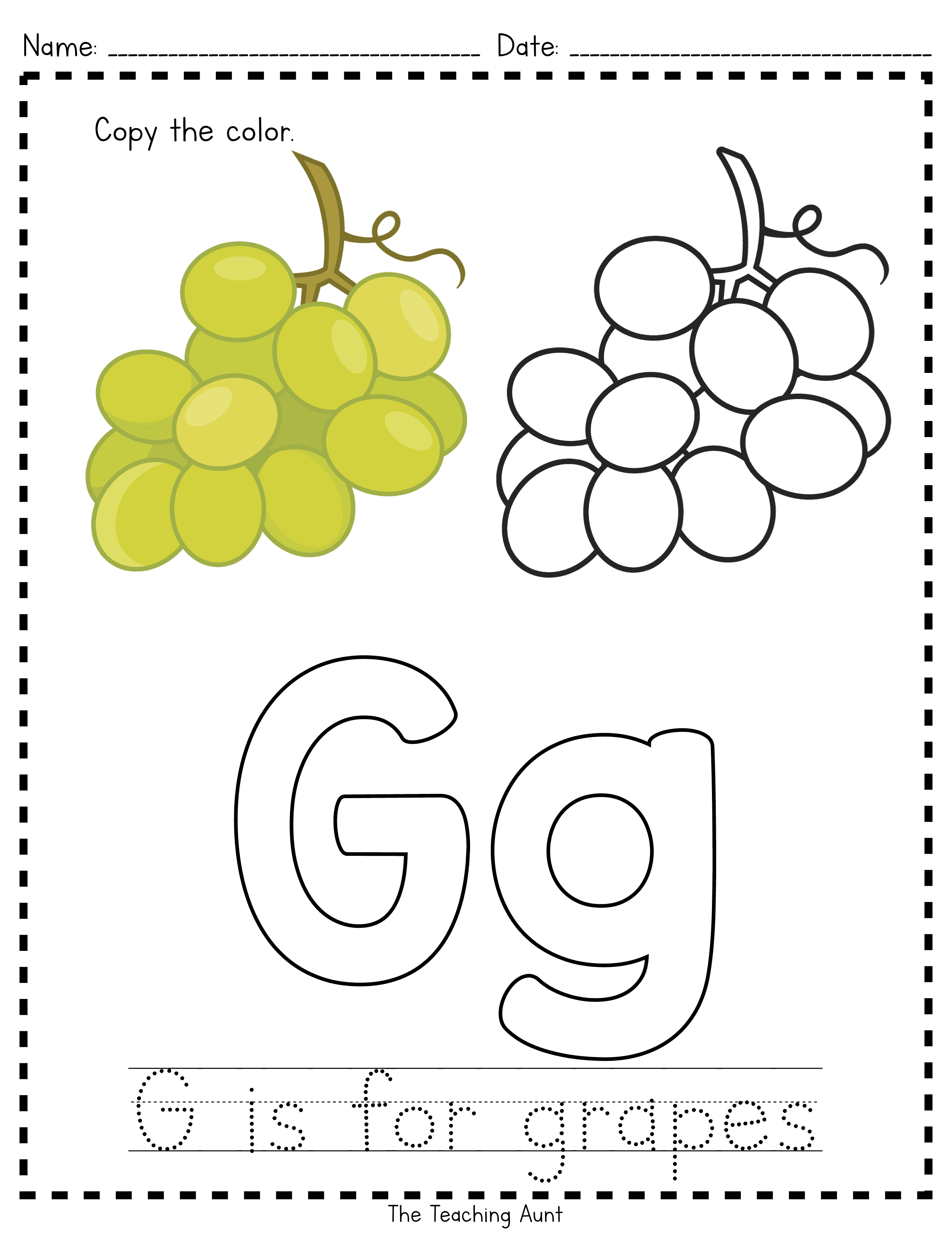 G is for Grapes: Paper Pasting Activity with Free Printable from The Teaching Aunt