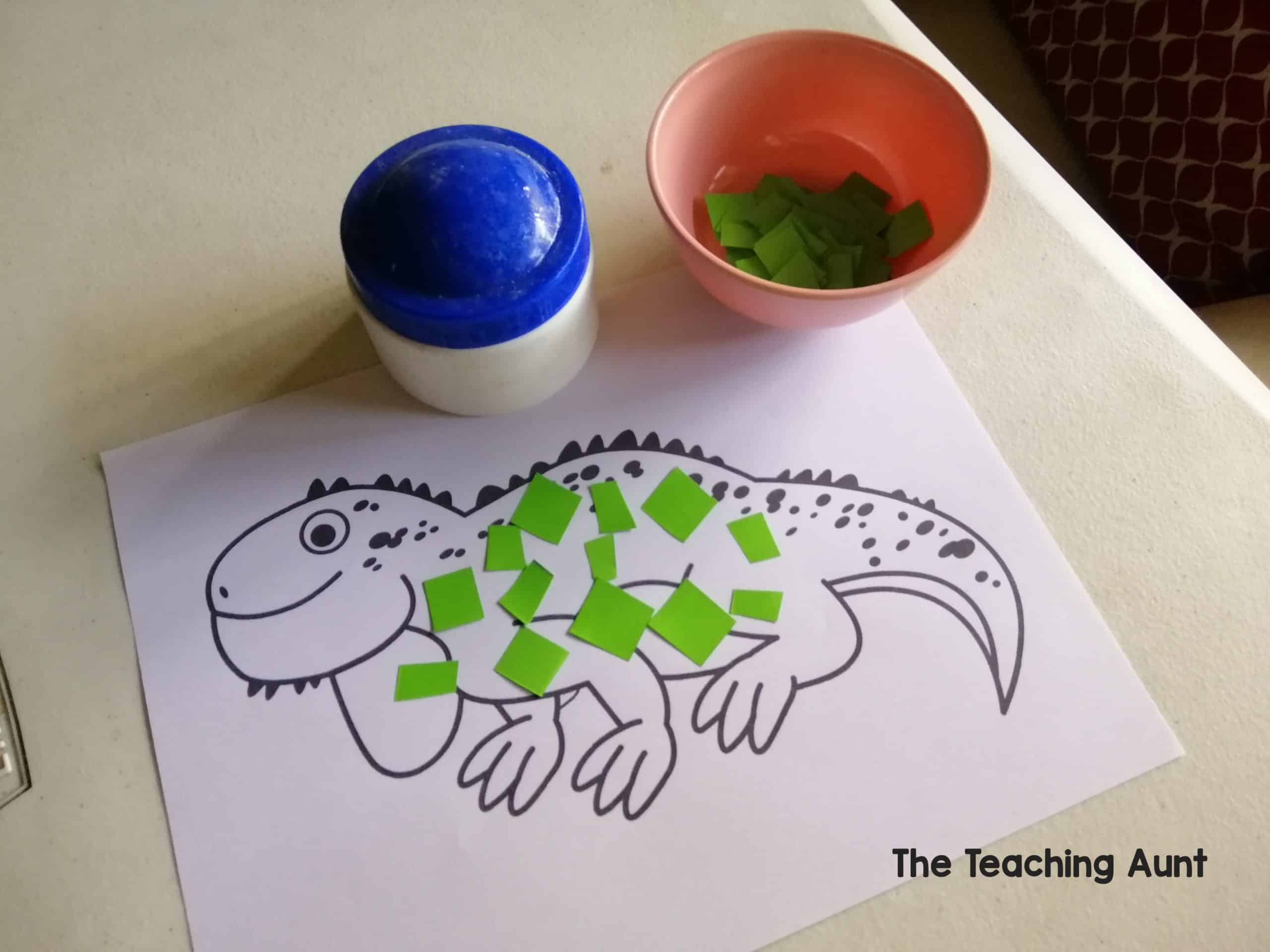 I is for Iguana: Paper Pasting Activity with Free Printable from The Teaching Aunt