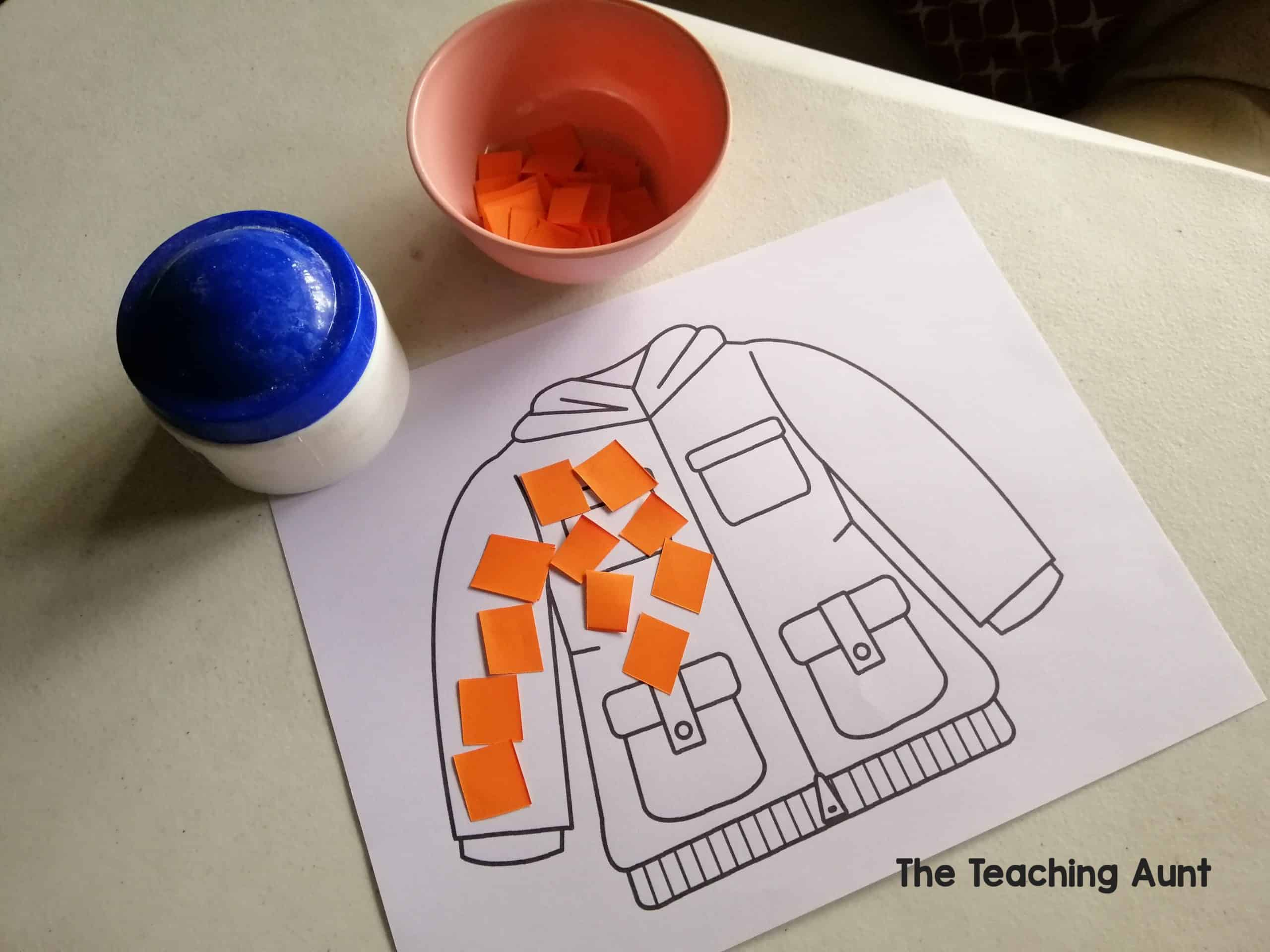 J is for Jacket: Paper Pasting Activity with Free Printable from The Teaching Aunt
