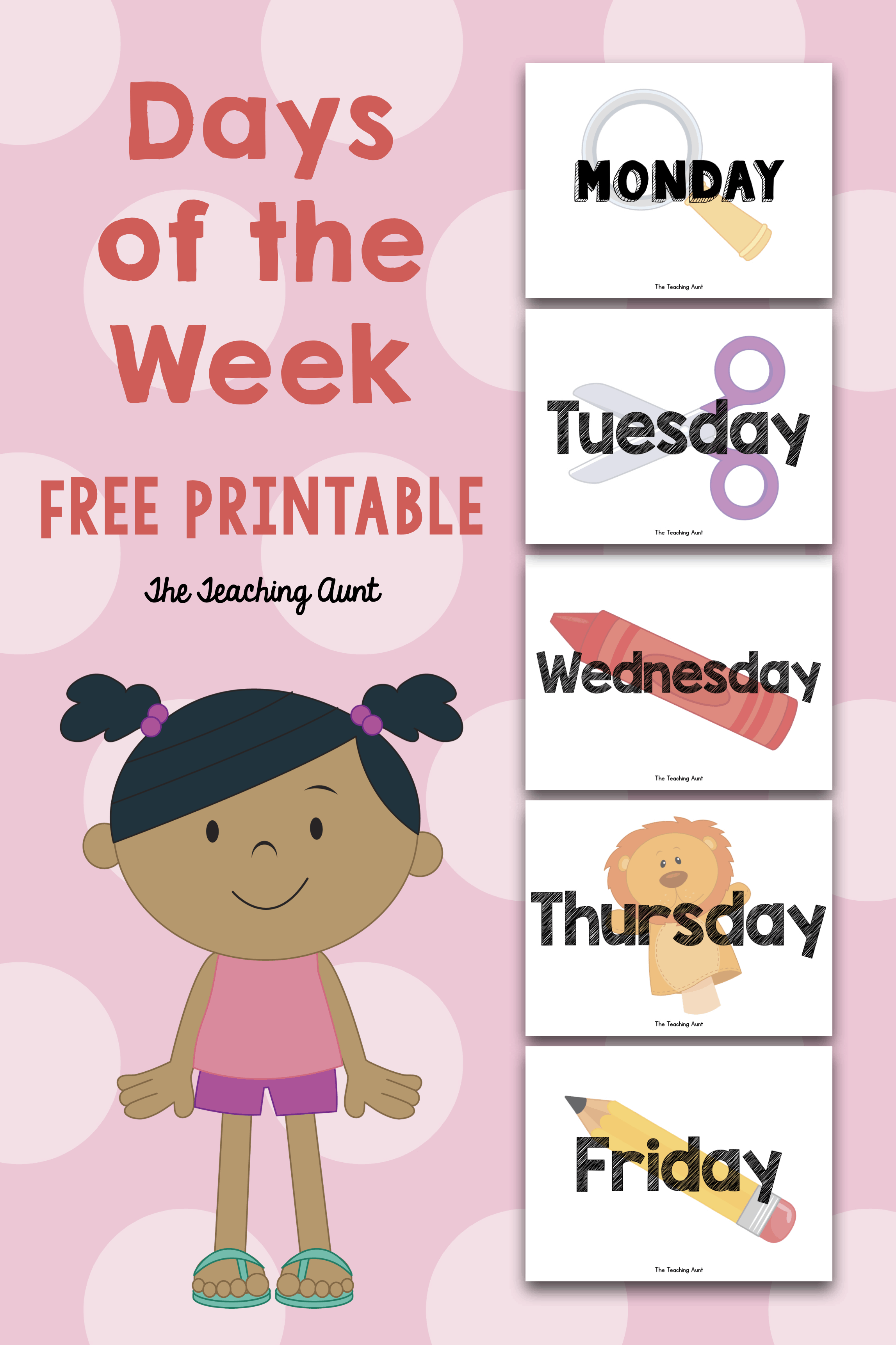 Days Of The Week Free Flashcards The Teaching Aunt