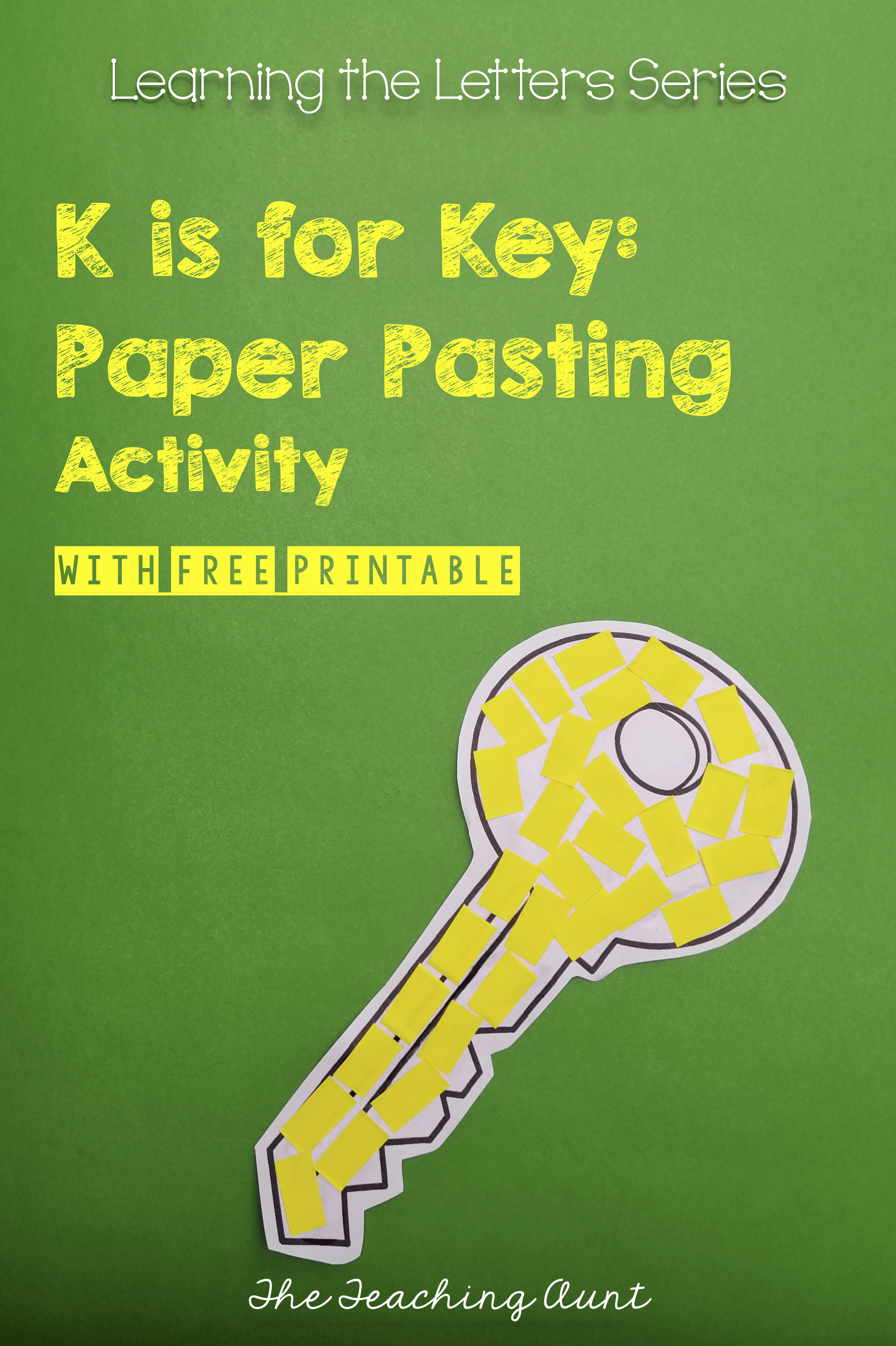 K is for Key: Paper Pasting Activity- Free Worksheet from The Teaching Aunt: Materials and Directions