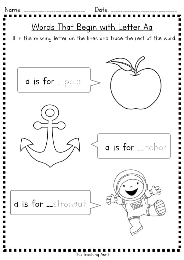 Missing Beginning Letter Worksheets Free Printable from The Teaching Aunt