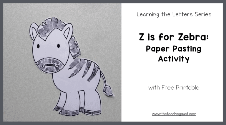 Z is for Zebra: Paper Pasting Activity with Free Printable from The Teaching Aunt