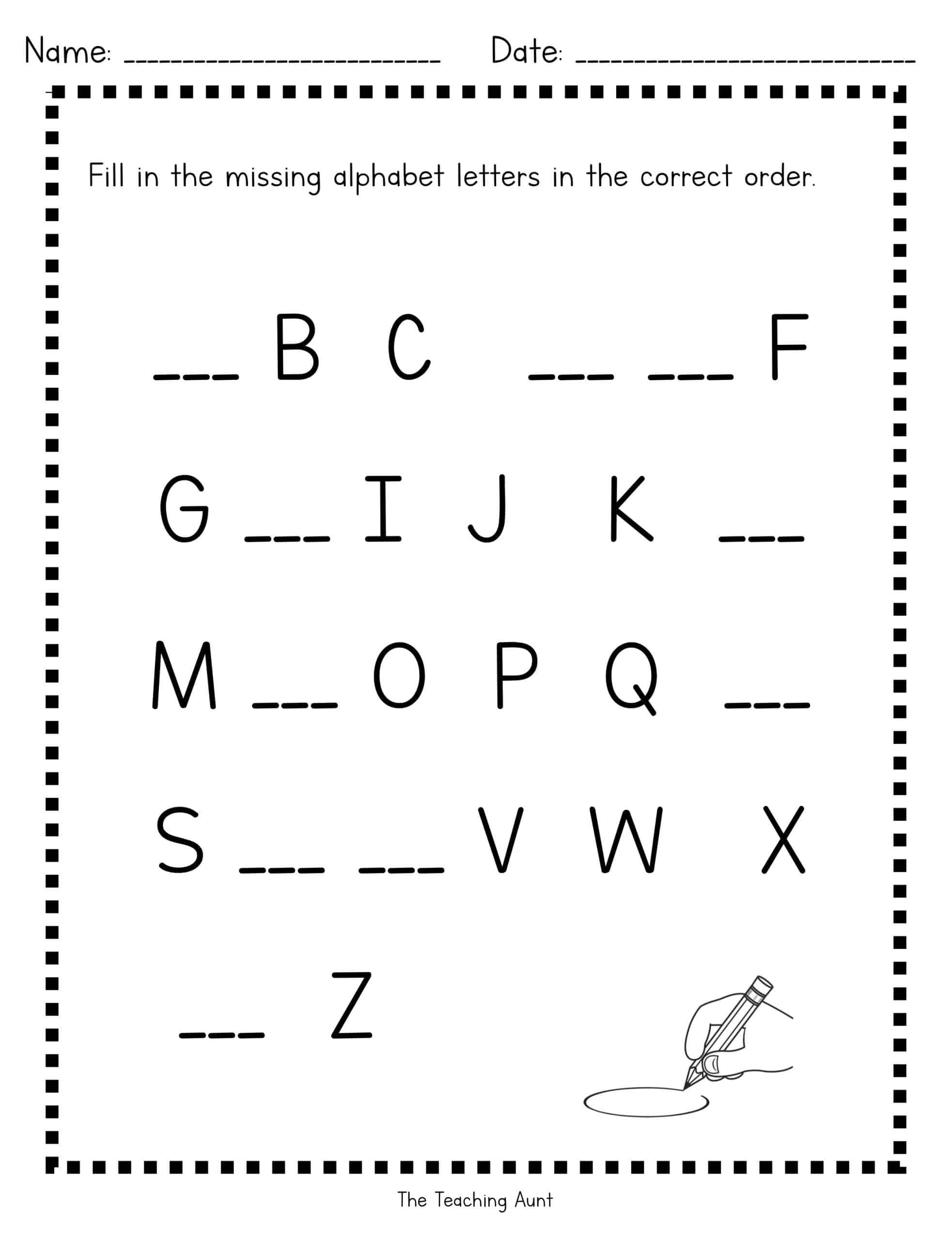 Missing uppercase letters worksheets
