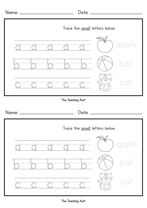 Lowercase Letters Tracing Worksheets Free Printable from The Teaching Aunt