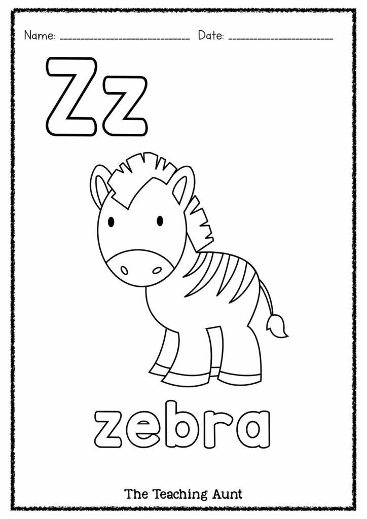 Z is for Zebra Free Coloring Worksheet