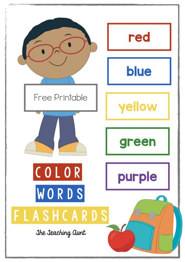 Color Words Flashcards Free Printable
