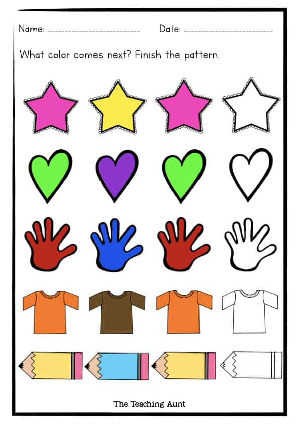 Free Colors and Patterns Worksheets