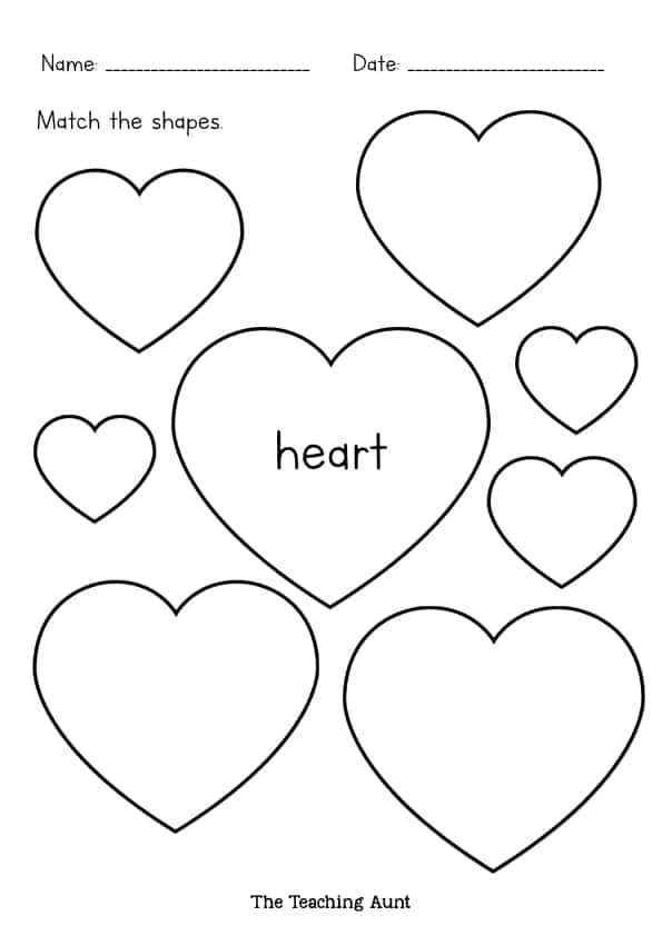 Cut and Match Shapes Worksheets Free Printable