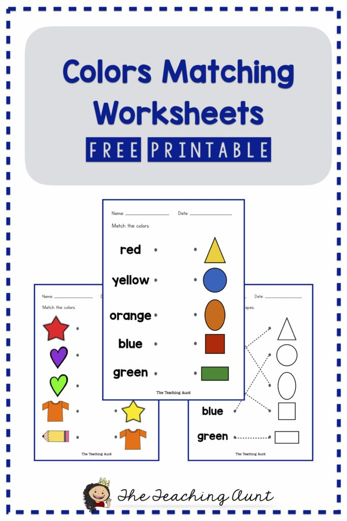 Free Matching Colors Worksheets The Teaching Aunt - 45+ Colour Name Worksheets For Kindergarten Pictures