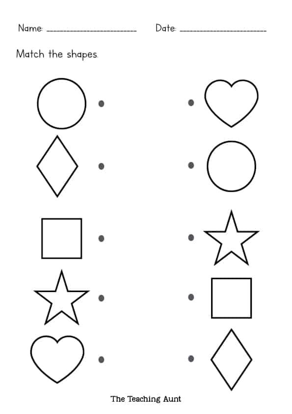 Free Matching Shapes Worksheets