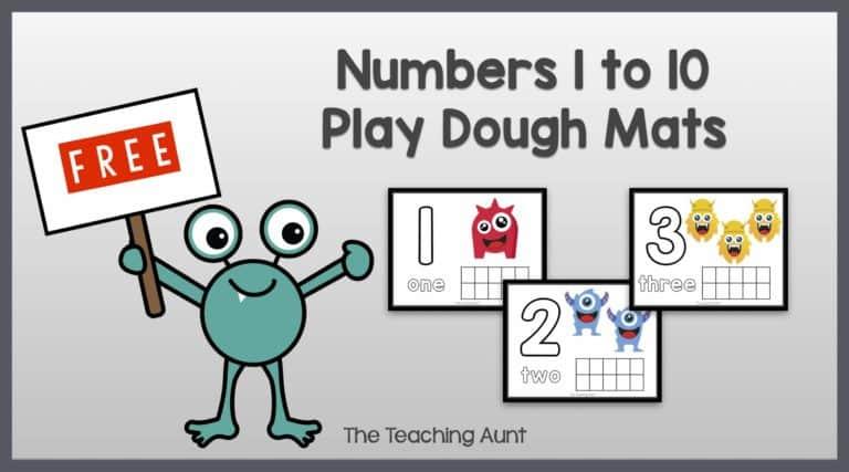 Free Numbers Playdough Mats