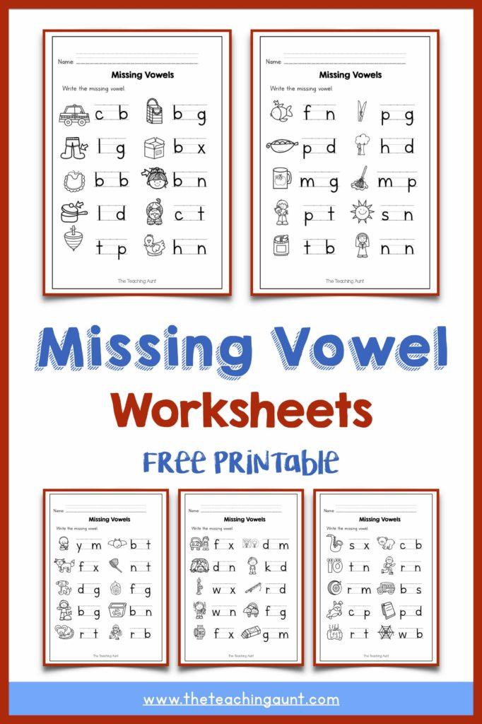 Missing Vowel Worksheets For Kindergarten The Teaching Aunt - Get Vowels Worksheets For Kindergarten Pics