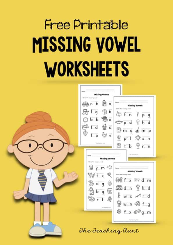 Missing Vowel Worksheets for Kindergarten
