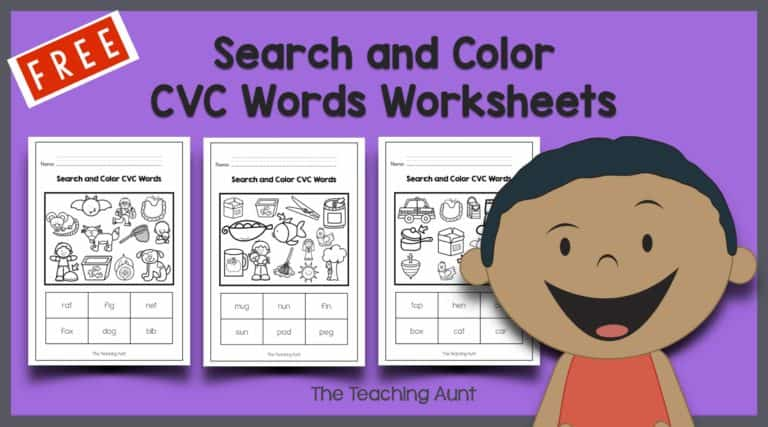 Search and Color CVC Words Worksheets