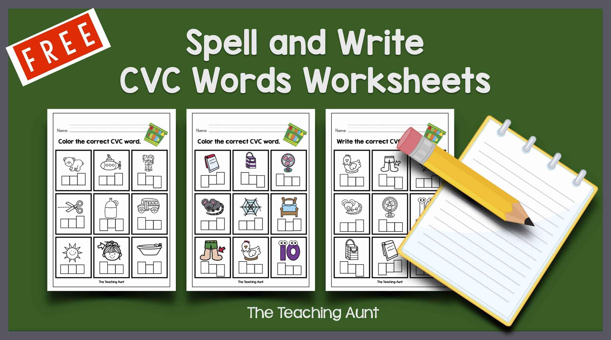 CVC Words Worksheets for Kindergarten