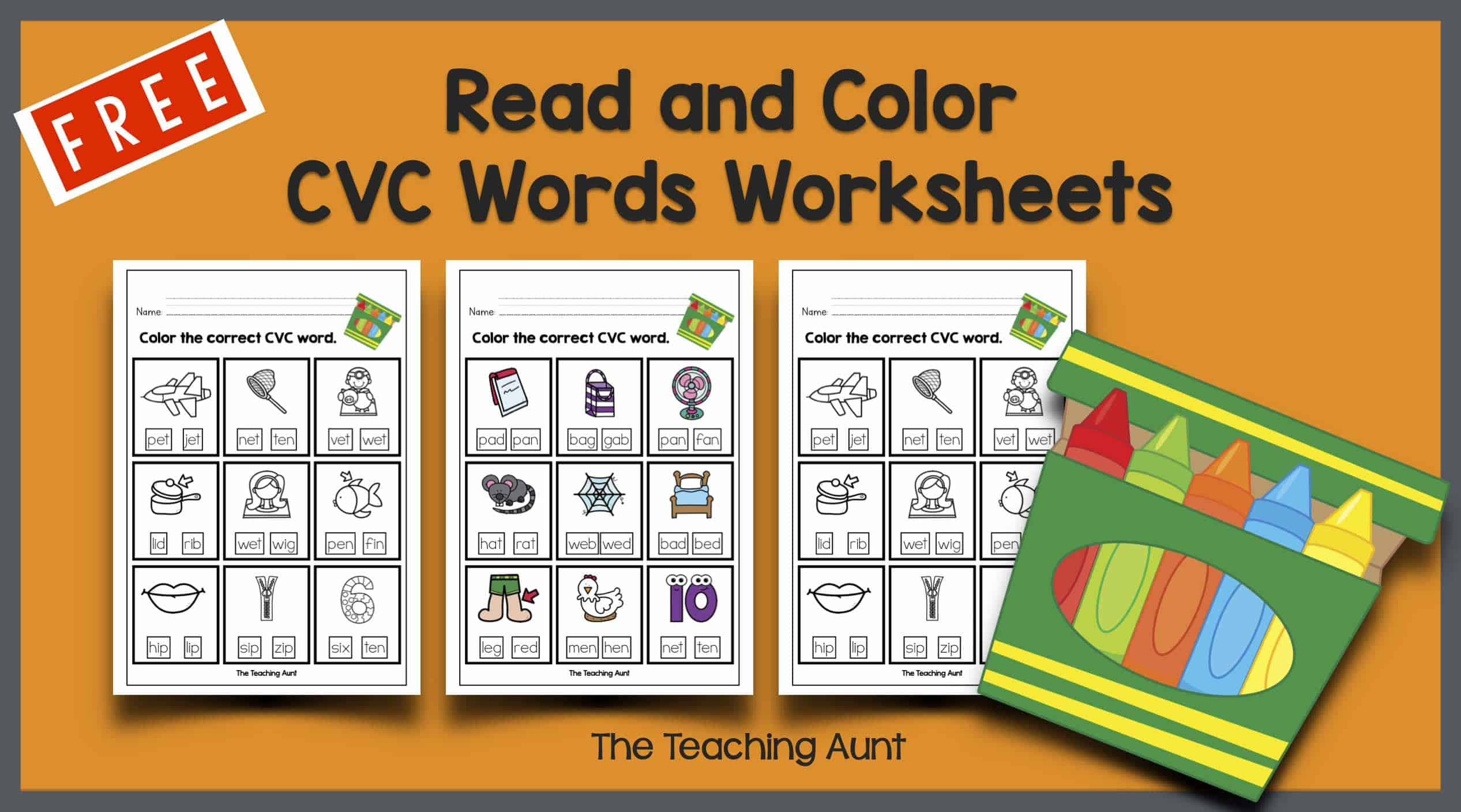 Read And Color Cvc Words Worksheets The Teaching Aunt [ 1408 x 2533 Pixel ]