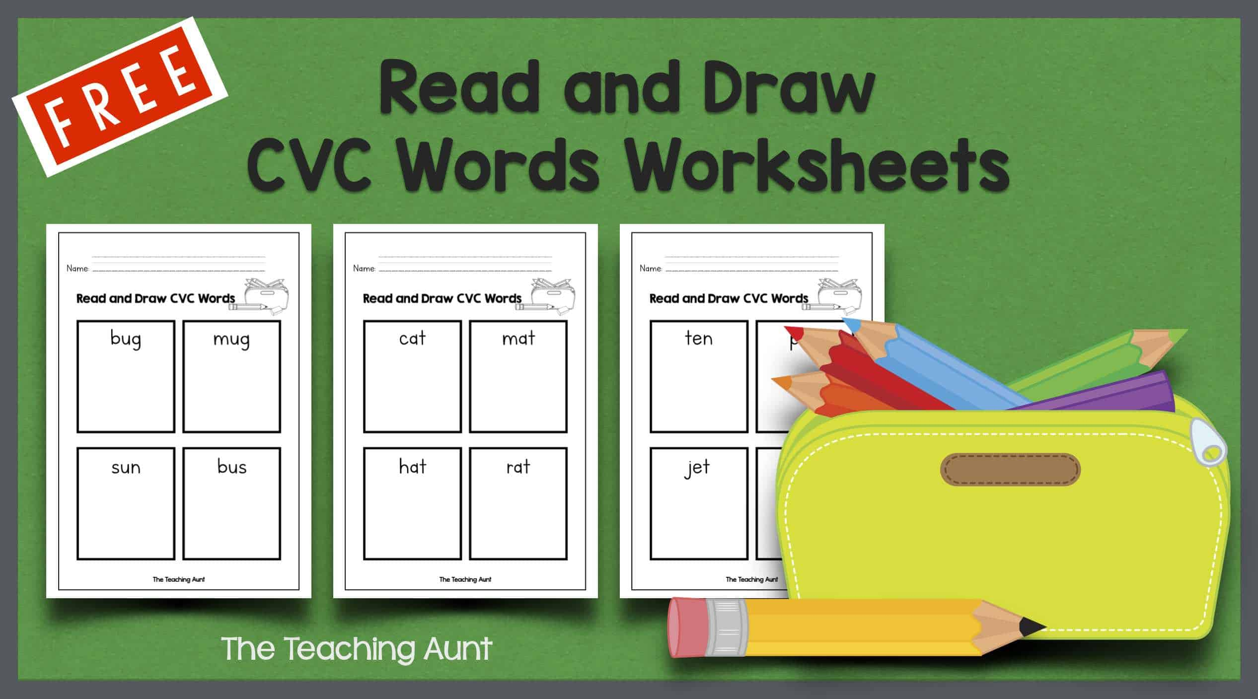 Read and Draw CVC Words Worksheets