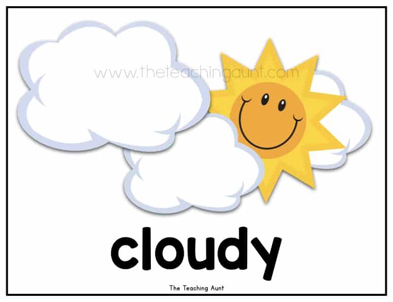 Free Weather Flashcards for Preschool