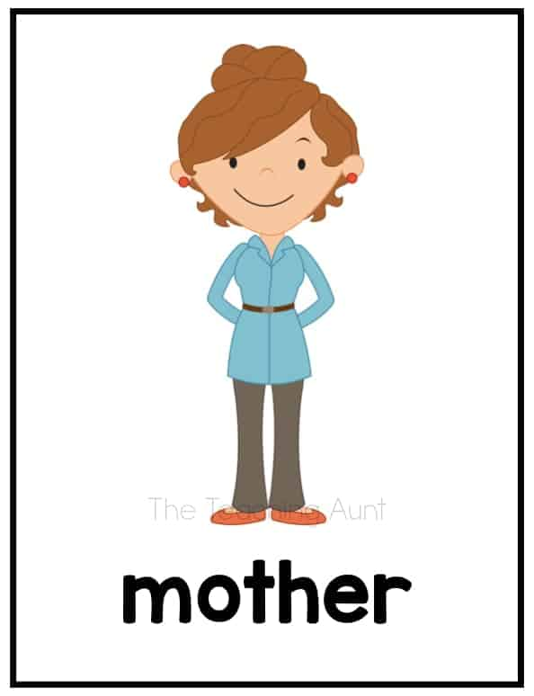 Free Family Flashcards PDF- Mother