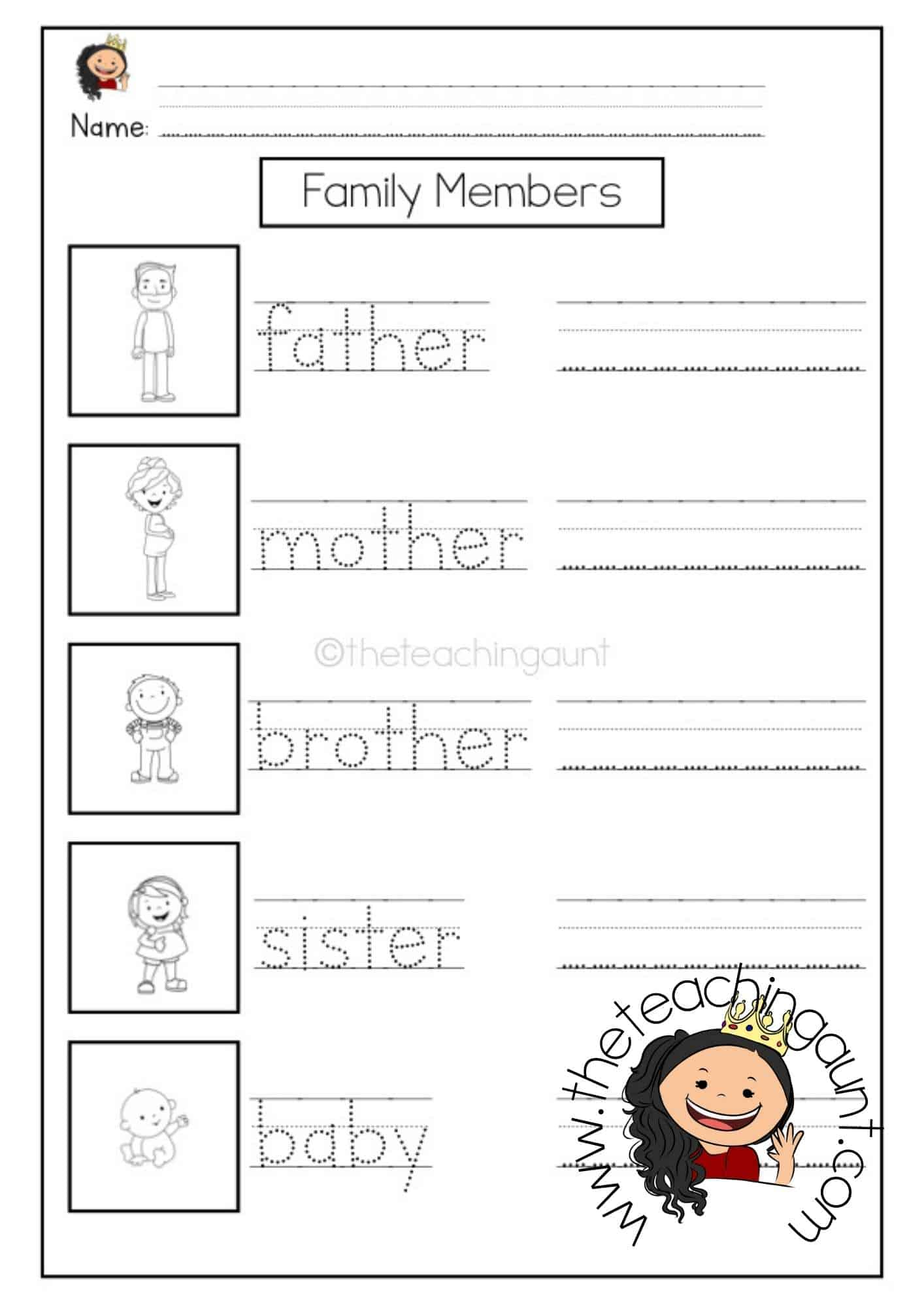 Free Family Members Tracing and Writing Worksheets from The Teaching Aunt