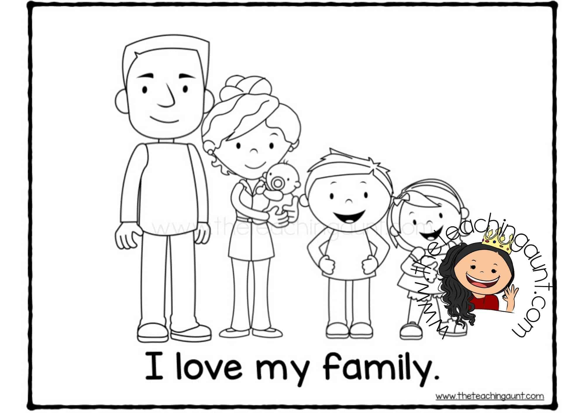 Free Family Members Coloring Pages- I love my family