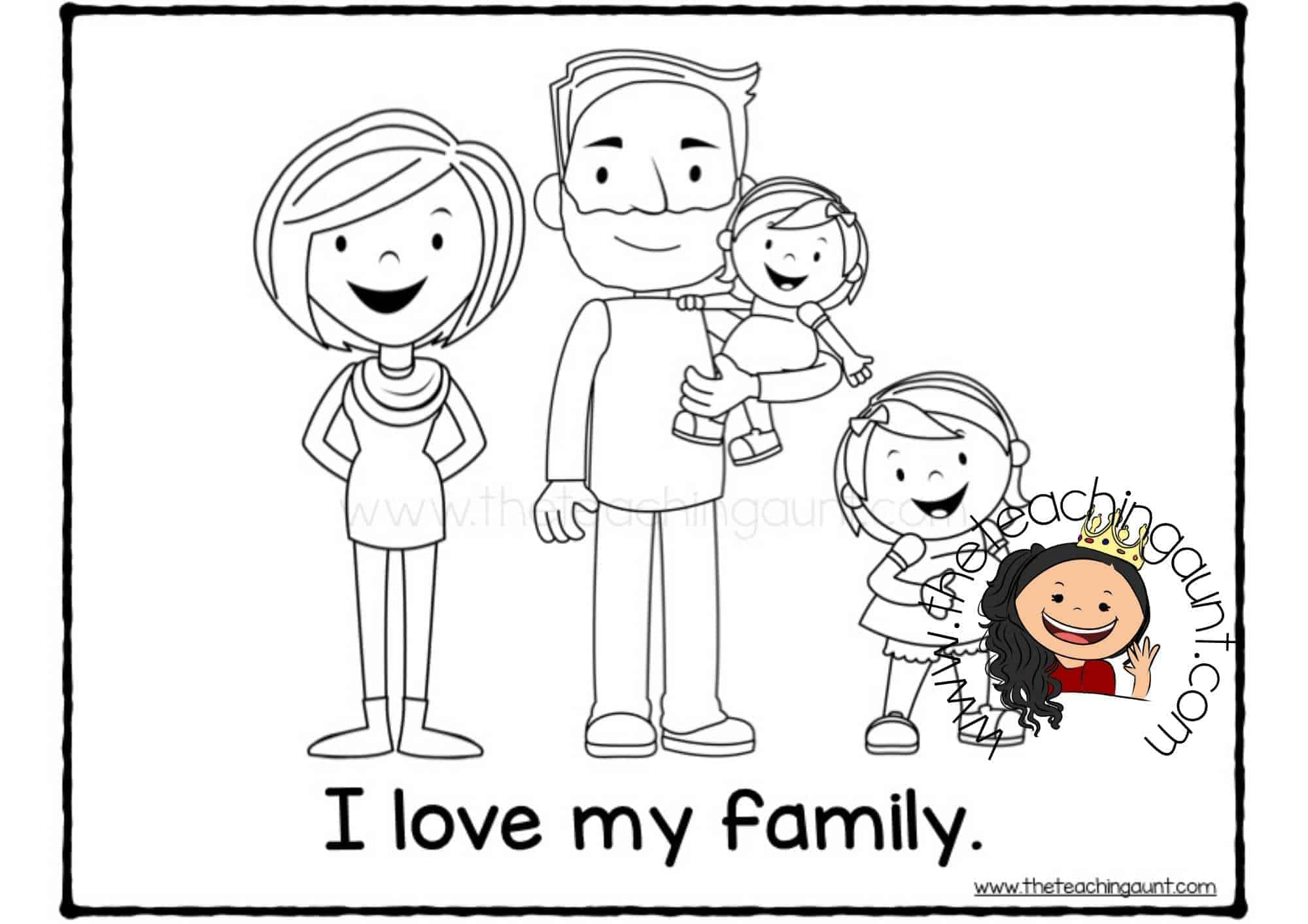 Free Family Members Coloring Pages with baby sister