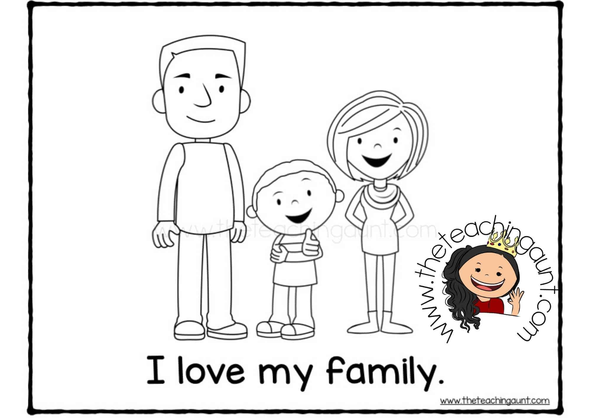 Free Family Members Coloring Pages- I love my family with son
