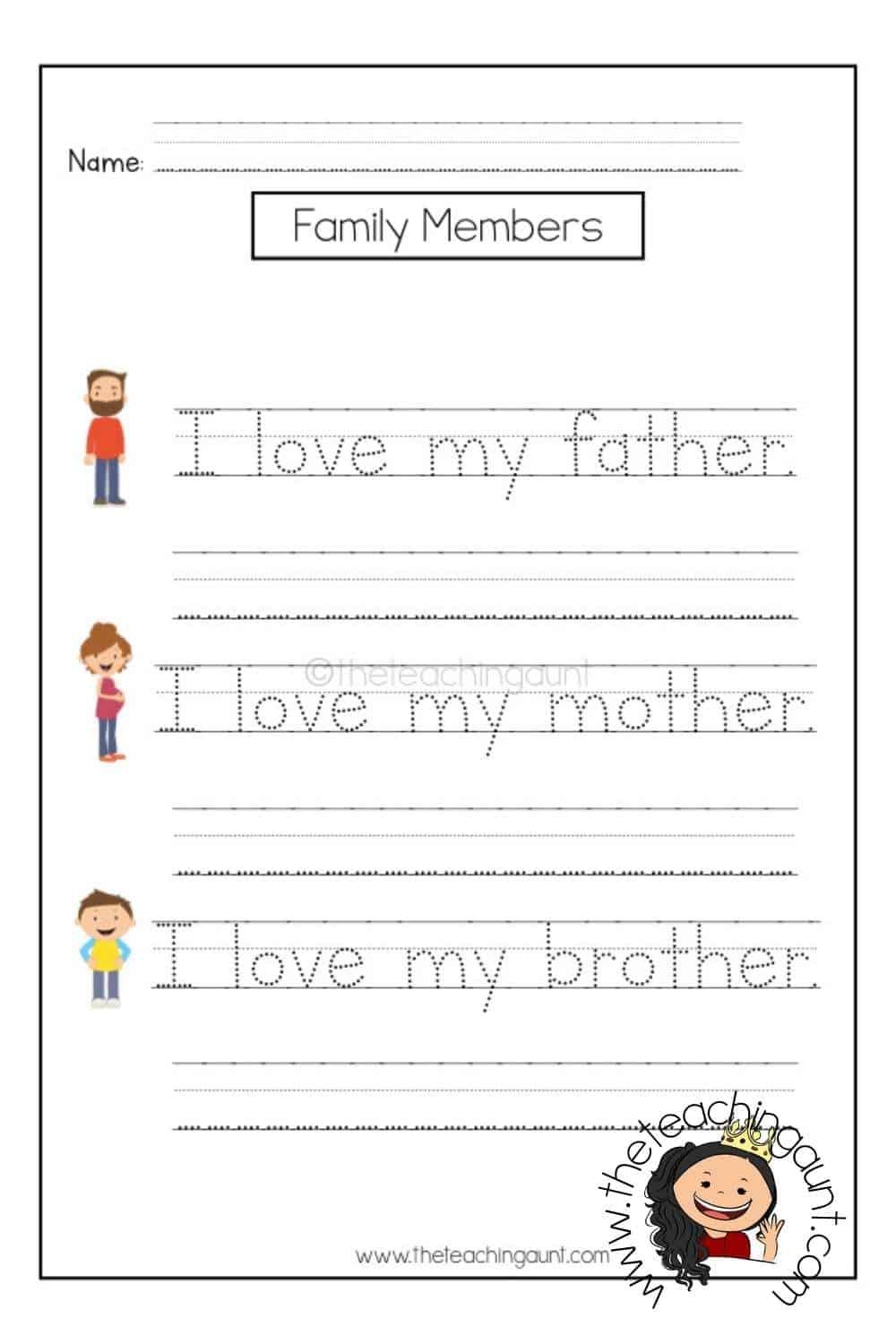 Members of the Family Tracing Worksheets Page 2