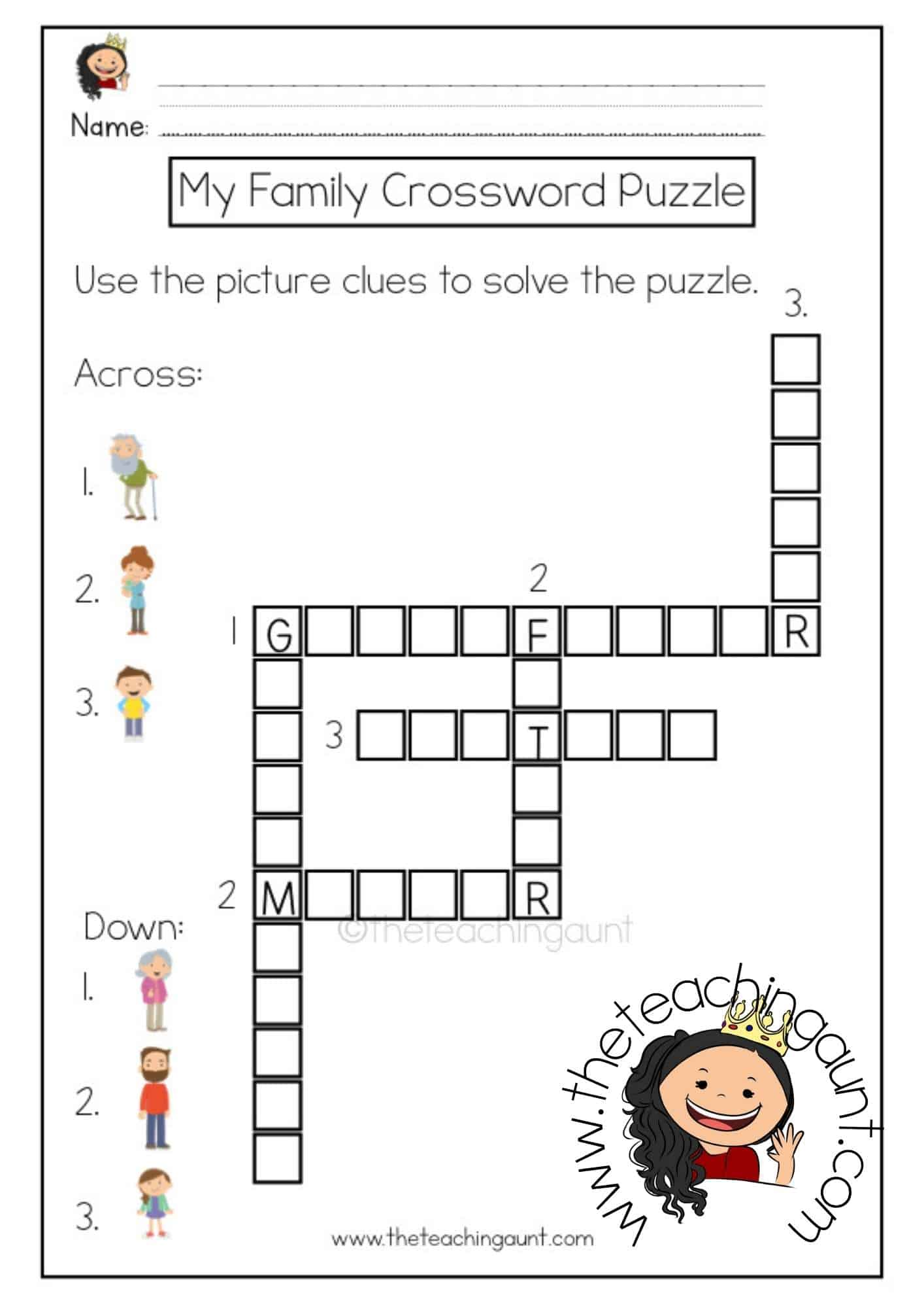 Free Family Members Crossword Puzzle Worksheet from The Teaching Aunt