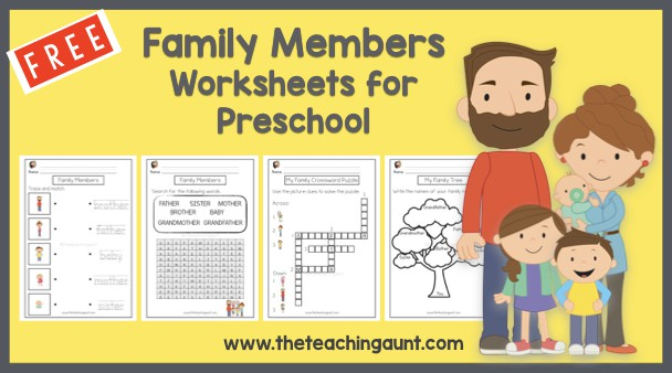 Family Members Worksheets for Preschool Free Printable from The Teaching Aunt