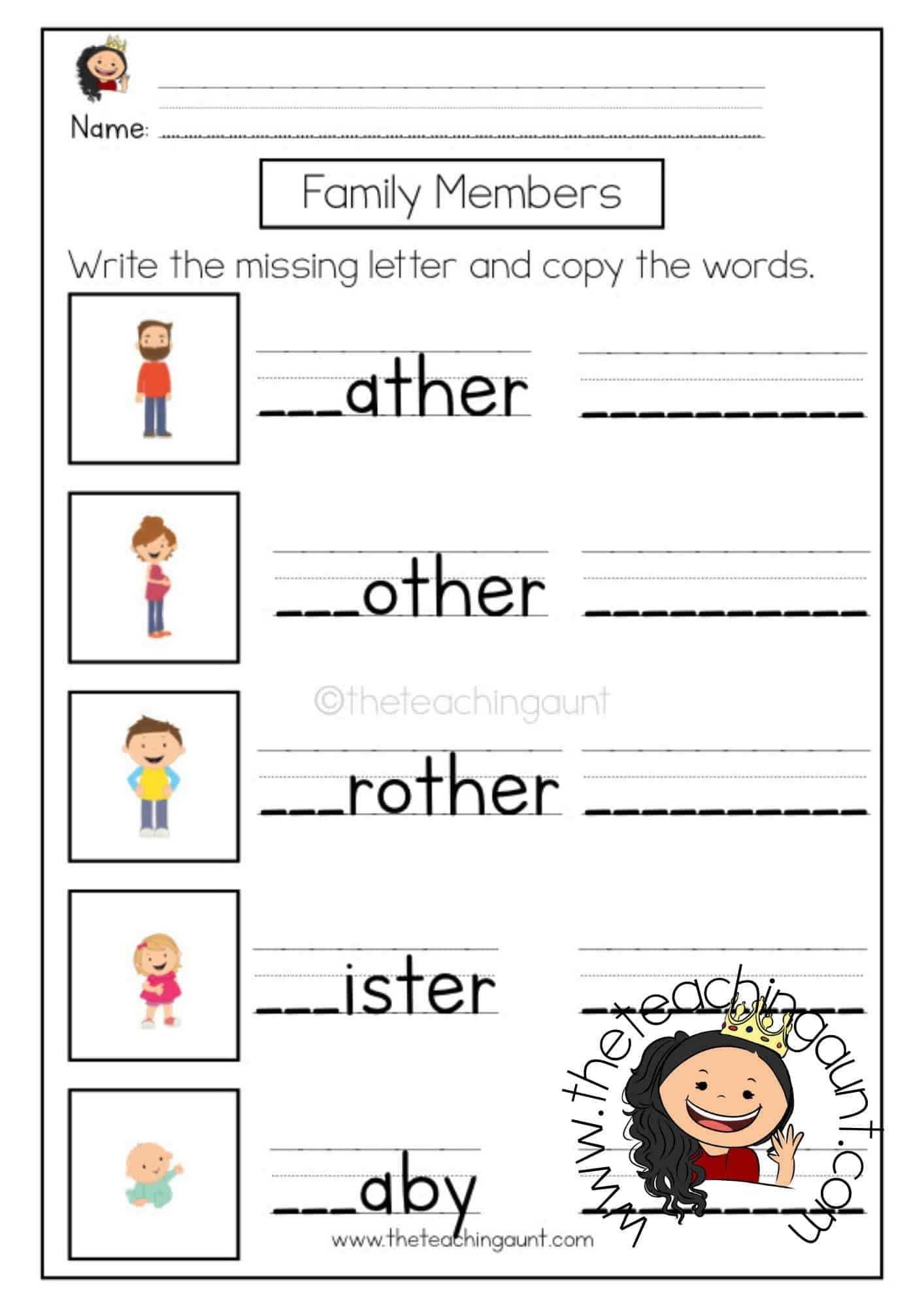 Free Family Members Write the Missing Letter Worksheet from The Teaching Aunt