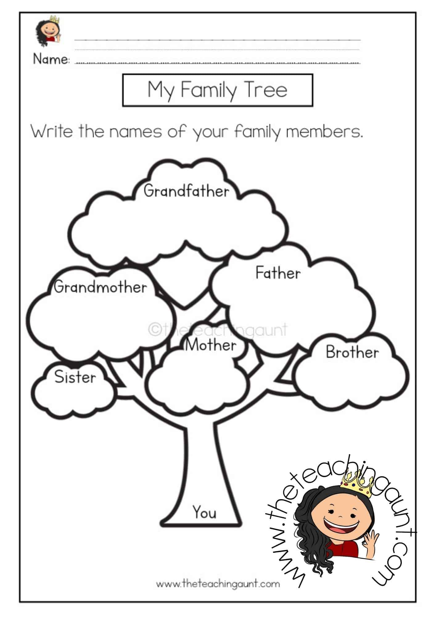 Free Family Tree Worksheet from The Teaching Aunt