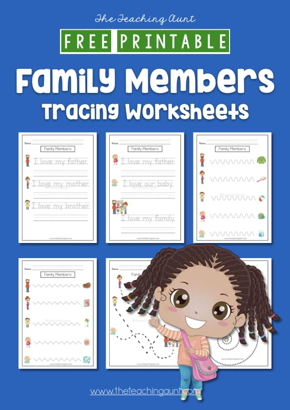 Members of the Family Tracing Worksheets Free Printable