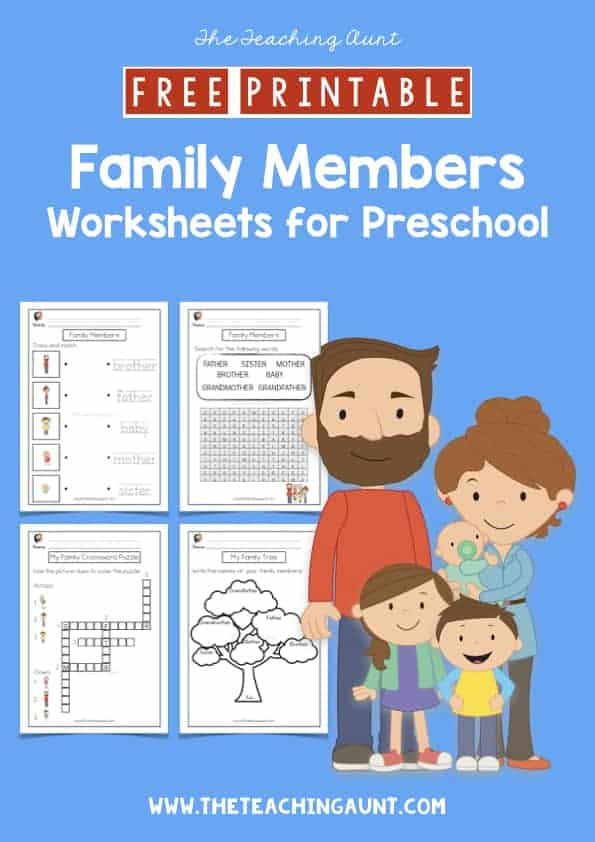 Free Printable Family Members Worksheets for Preschool from the Teaching Aunt