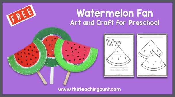 Watermelon Fan Art and Craft with Free Coloring Pages