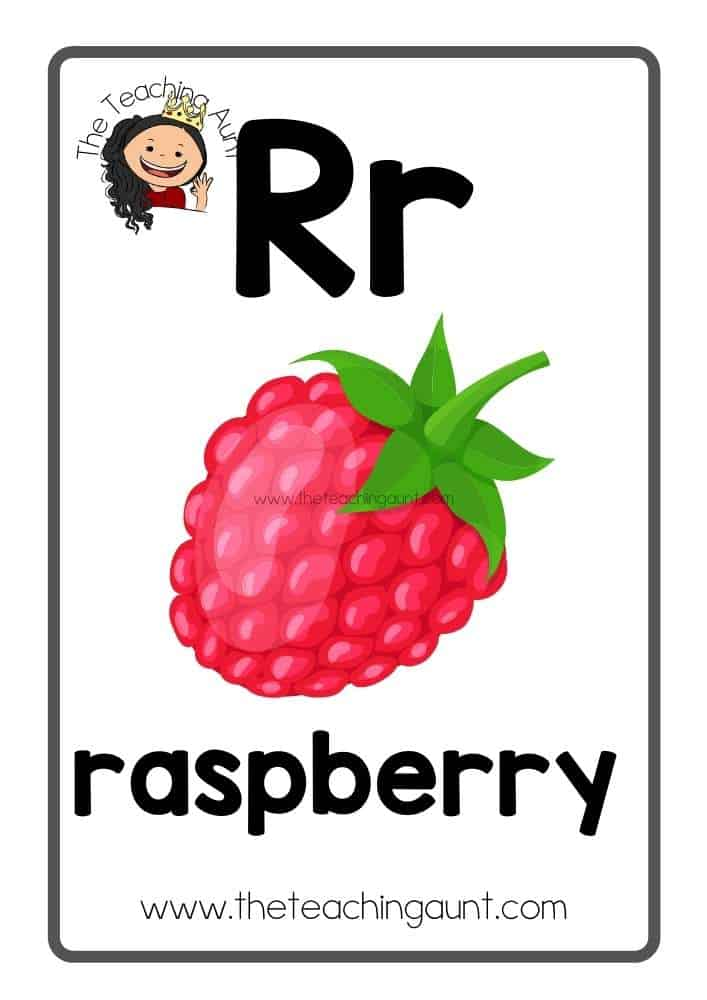 Rr Free Alphabet Fruits and Vegetables Flashcards from the Teaching Aunt