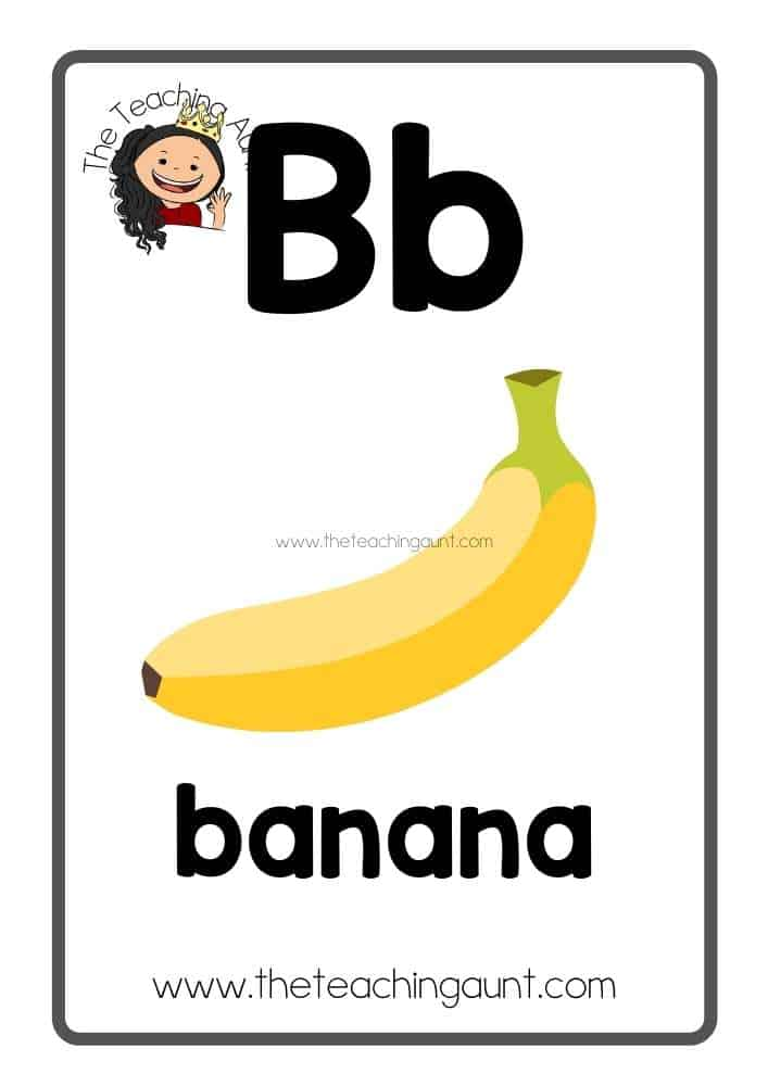 Bb Free Alphabet Fruits and Vegetables Flashcards from the Teaching Aunt